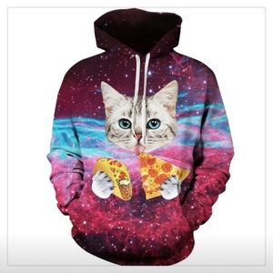 Galaxy Pizza Taco Cat Head Sweatshirt Men's Large